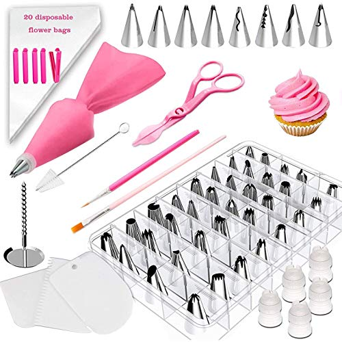 Diealles Shine 83 Pezzi Ugelli Torte Kit, Beccucci sac a Poche Inox Kit di Bocchette Professionali per sac à Poche, Accessori per Decorare Cupcake e Torte