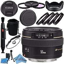 Canon EF 50mm f/1.4 USM Lens 2515A003 + 58mm 3pc Filter Kit + 58mm Macro Close Up Kit + Lens Cleaning Kit + Lens Pouch + Lens Pen Cleaner + 58mm Tulip Lens Hood Bundle