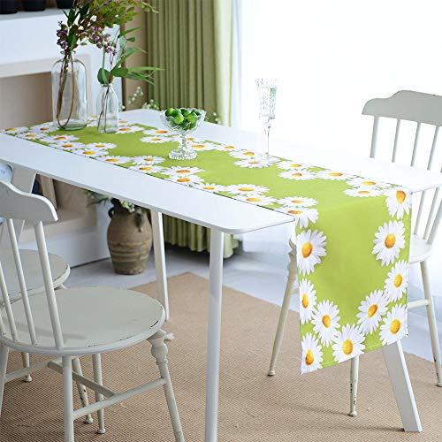 ARTABLE Mantel cuadrado y rectangular impermeable para mesa, funda de cojín, diseño de margaritas, decoración del hogar y jardín (verde, 40 x 140 cm)