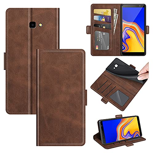 AKC Handyhülle Kompatibel mit Samsung Galaxy J4 Plus/J415F Hülle Fallschutz Handy-Ständer-Leder Flip Etui Handytasche Cover Echtleder Brieftasche-Braun