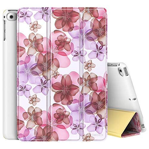 MoKo Funda para iPad Mini 4 - Ultra Slim Lightweight Función de Soporte Protectora Plegable Smart Cover Durable para Apple iPad Mini 4 7.9 Pulgadas 2015 Tableta, Floral Violeta (Auto Sueño/Estela)