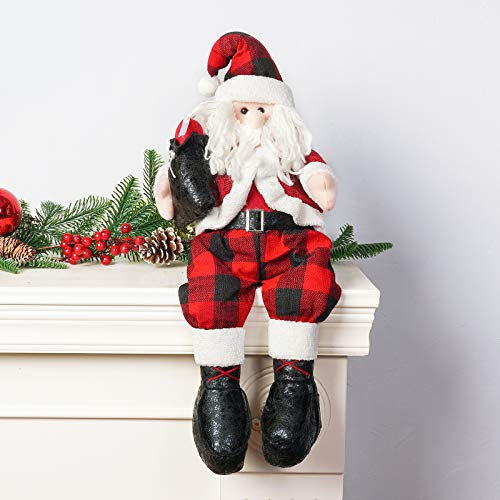 DAVID ROCCO Christmas Santa Claus Snowman Shelf Plush Figurine Sitting Toys for Holiday Home Ornaments and Decoration (Santa)