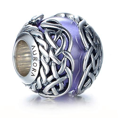 Irish Celtic Charm Purple Murano Glass & Sterling Silver Celtic Mystic Knot Charm S925, Celtic Eternal Love Knot Silver Bead, Violet Lilac pendant Charm Jewelry, Pandora compatible charm
