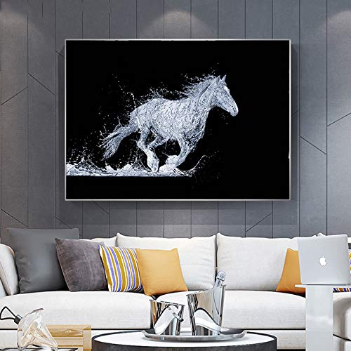 Frameloze olieverfschilderij Paard stromend water spatten abstract canvas schilderij wall art print c50x70cm