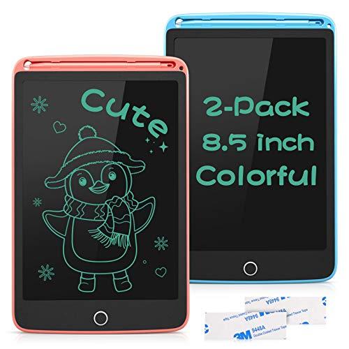 SUNLU Tableta de Escritura LCD 8.5 Pulgadas, Tablet Niños con Bloqueable Botón Borrado, Pizarra Digitalac con Adhesivo, 2 Paquetes, Rosa y Azul