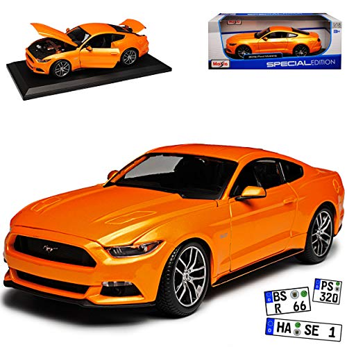 Maisto Ford Mustang VI Coupe Orange Ab 2014 1/18 Modell Auto