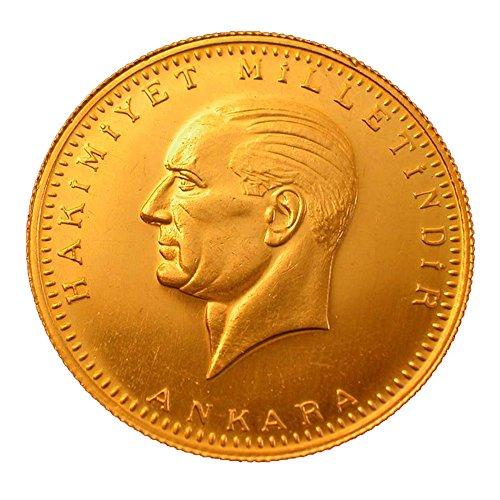 Türkische Goldmünze Original und Neu 50 Piaster Kurush Ata Yarim Altin Ohne Öse in Kapsel mit Geschenkbeutel