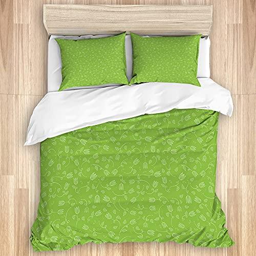ASNIVI Washed Cotton Duvet Cover Set,Green Doodle Tulip Blossoms Print,3 Pieces Luxury Soft Bedding Set King Size(No Comforter)