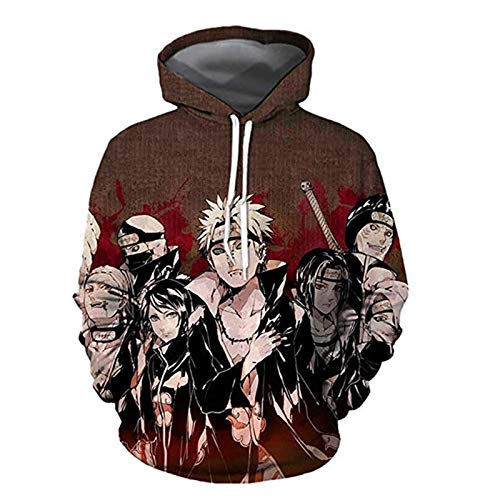 2021 Hombres y Mujeres Anime Hoodie Imprimir Jersey- Naruto Print Pullover Cosplay Naruto3D Print Pullover Sweater 2021 Nuevo otoño e Invierno Unisex-Anime Fans Love (Color : 1AA, Size : S)