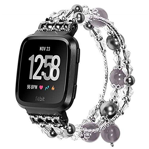 SUNEVEN für Fitbit Versa Band, Handgefertigt Elastic Stretch Achat Perlen Armband Ersatz Jewelry Armband Gurt für Fitbit Versa Smartwatch, Grau, Large