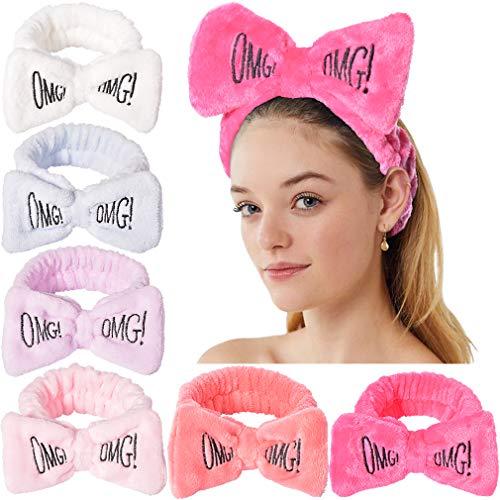 Spa Headband Coral Fleece Facial Makeup Headband Turban Bowknot Bow Cosmetic Headband for Washing Face Bow Headband for Shower Letter Terry Cloth Headbands for Women Hair Band Pack of 6