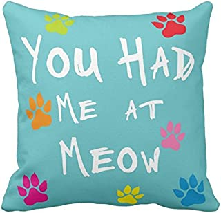Decorbox You Had Me At Meow Colorlul Pattern 18x18 Inch Cotton Polyester Square Throw Pillow Case Decorative Durable Cushion Home Decor Sofa Standard Size Accent Pillowcase Slip Cover Encasement