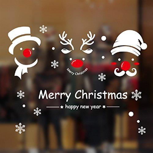 Natale Vetrofanie Rimovibile Adesivi Murali Fai da te Finestra Decorazione Vetrina Wallpaper