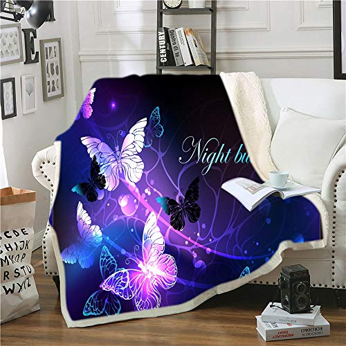 IMMDDBA Mariposa Animal Azul Cielo Estrellado Mantas Impresión 3D Manta Suave para El Hogar/Sofá/Ropa De Cama Manta Portátil para Viajes para Adultos (Tamaño: 150X200Cm) para Sala De Estar Sofá