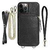 ZVE Zipper Wallet Case for iPhone 12 Pro/iPhone 12(6.1 inch), Crossbody...