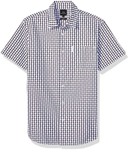 Armani Exchange A|X Herren Checkered Short Sleeve Button Down Shirt with Collar Hemd, Weiß/kariert, Groß