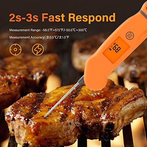 Inkbird Meat Thermometer IHT-1S, Instant Read Meat Thermometer Waterproof Digital Cooking Thermometer, Food Candy Thermometer for Kitchen, Food Cooking, Grill, BBQ, Smoker, Home Brewing, Coffee