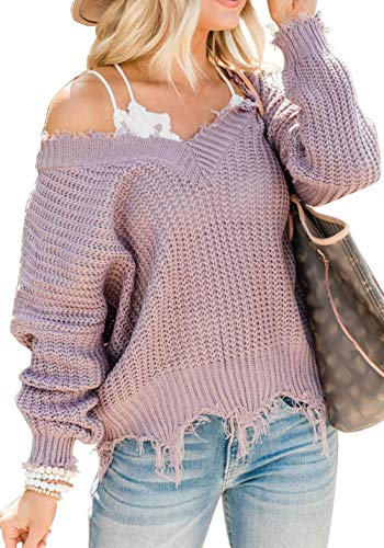 LEANI Women's Loose Knitted Sweater Long Sleeve V-Neck Ripped Pullover Sweaters Crop Top Knit Jumper