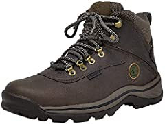 WHITE LEDGE MENS HIKING BOOTS feature premium full-grain waterproof leather uppers for comfort and durability, seam-sealed waterproof construction to keep feet dry in any weather, and rustproof, speed lace hardware with hooks at top for secure lacing...