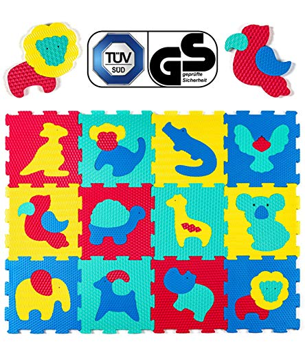 Hakuna Matte Puzzlematte für Babys – TÜV SÜD GS Zertifiziert – 12 Fliesen mit Tieren in Einer Aufbewahrungstasche – 20% dickere Spielmatte – 4 Oberflächentypen – 1,2x0,9m, Vergleichsieger 2018*