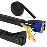 MOSOTECH Organizador Cables, 2 X 1.6m Cubre Cables Expandible con Corte Fácil Negro Bridas, Organizador de Cables Mesa a Prueba de Polvo para Office y PC Escritorio, Ø10mm, Negro