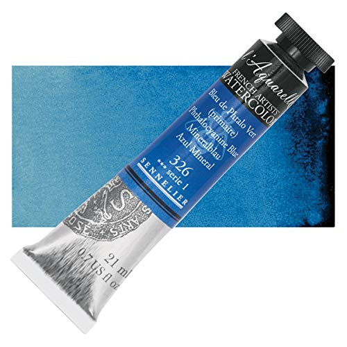 Sennelier L'Aquarelle French Watercolor, 21ml Tube, S1 Phthalo Blue