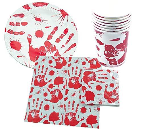 LLOPIS - Set Halloween Mano (6 Platos, 6 Vasos y 6 servilletas)
