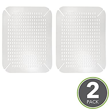 mDesign Adjustable Silicone Kitchen Sink Protector Mat - Pack of 2, Clear