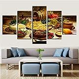 adgkitb canvas Decoración para el hogar Pintura Arte Moderno de la Pared Marco Restaurante Cocina Modular Carteles Imágenes 5 Piezas Comida y Bebidas HD Impreso Lienzo