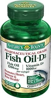 Nature's Bounty Pharmaceutical Grade Fish Oil 1000mg Vitamin D 1000iu Softgels - 90ct, 0.5 Bottles (Pack of 2)