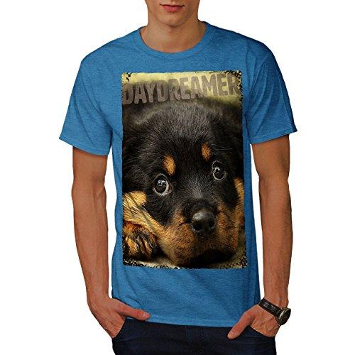wellcoda Tagträumer Hündchen Niedlich Hund Männer T-Shirt, Welpe Grafikdesign gedruckt Tee