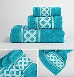 Energy Colors Textil - Hogar - Cenefa Siria - Juego de Toalla 3 Piezas 100% Algodón de 500 Gramos Ducha Lavabo y Vidé (Aqua)