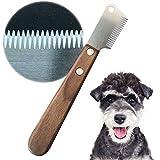 onebarleycorn - Coltello da Stripping a Denti Stretti,Professionale Spogliarello Knife Coarse Ergonomic Wooden Stripping Knife per Cani(Mancino)