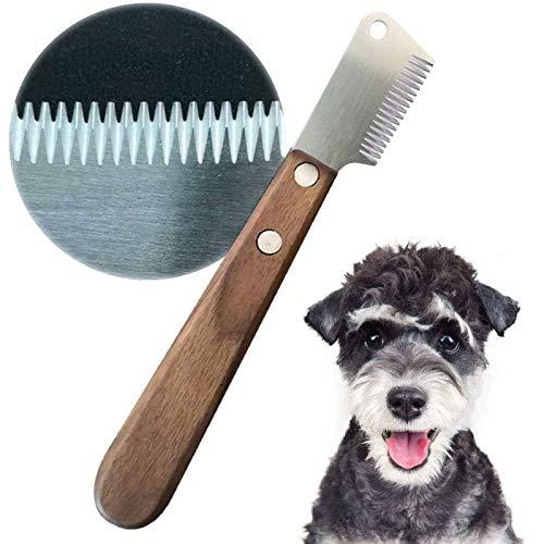 onebarleycorn – Cuchillo pelador Profesional para Perros, Mango de Madera ergonómico Herramienta de Aseo para Mascotas para Zurdos