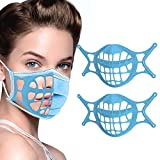 3D Mask Bracket -Silicone Face Mask Bracket-3D Mask Bracket Inner Support Frame for More Breathing Space,Keep Fabric off Mouth,Cool Lipstick Protection Stand,Reusable&Washable (Blue-2Pcs)