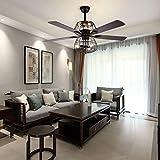 Ventilador de techo de 52 pulgadas, luz de hierro artesanal, lámpara de techo con mando a distancia para restaurantes, salones o dormitorios, crea jaula de hierro estilo rústico