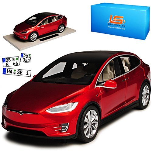 LS Collectibles Tesla Model X Rot Ab 2015 1/18 Modell Auto