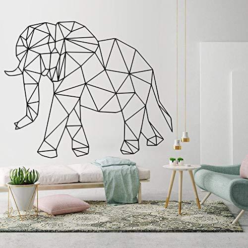 Elefant Vinyl Aufkleber, geometrische Tier Wandkunst Aufkleber Umriss, Aufkleber, moderne Kunst Innenwanddekoration andereFarbe 57x46cm
