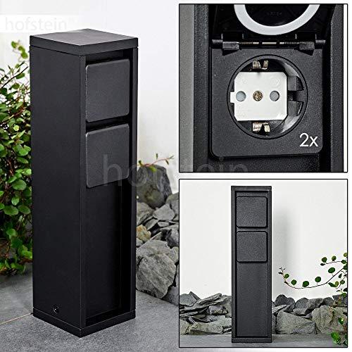 Buitenstopcontact Amersrooort, metalen stekkerdoos, zwart, 2-voudig stopcontact voor buiten, modern design, max. Vermogen 3600 watt, voor het aansluiten van lampen in de tuin, IP54