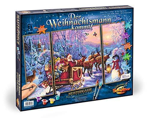 Schipper 609260758 - Malen nach Zahlen - Der Weihnachtsmann kommt! - Bilder malen für Erwachsene, inklusive Pinsel und Acrylfarben, Triptychon 50 x 80 cm