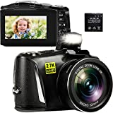 Digital Camera, 2.7K 48MP Point and Shoot Camera with 3' LCD Screen, Full HD Portable Mini Compact YouTube Vlogging Blogging Camera for Beginners Students