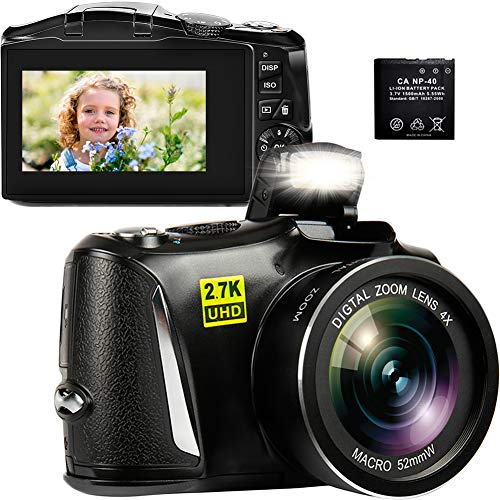 """Digital Camera, 2.7K 48MP Vlogging Camera with 3"""" LCD Screen, Full HD Portable Mini Compact YouTube Blogging Point and Shoot Camera for Beginners"""