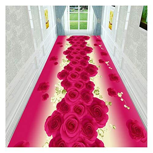 LISI Passatoia Tappeto Runner Porta D'ingresso Scale Cucina Ufficio, Facile da Pulire Antiscivolo, Motivo A Fiori Luminosi Stampata 3D (Colore : Rose Red, Size : 0.9x3m)