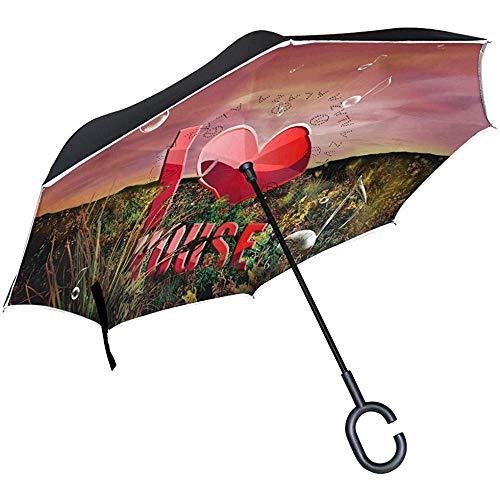 Inverted Umbrella Download Ich Liebe Musik Double Layer Reverse UmbrellaUmbrella mit C-förmigen Griff