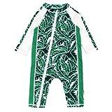 SwimZip UPF 50+ Boys Long Sleeve Sunsuit | Palm Leaf 18-24 Month Green