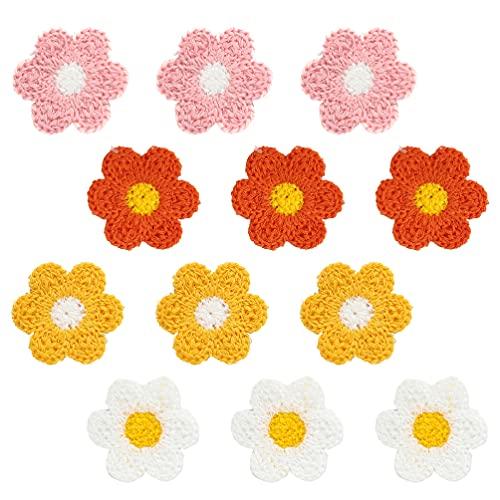 SOIMISS 20 Piezas de Flores de Ganchillo para Artesanías Parches de Punto Accesorios para El Cabello DIY Materiales de Costura de Fabricación de Joyas de Colores Azar