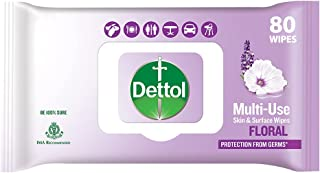 "Dettol Disinfectant Sanitizer Wet Wipes For Skin & Surfaces, Floral €"" 80 Count| Moisture-Lock Lid | Safe On Skin | Ideal ..."