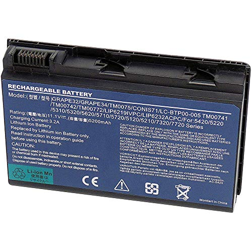 XITAI 5200mAh GRAPE32 TM00741 Repuesto Batería para Acer Extensa 5120 5210 5220...