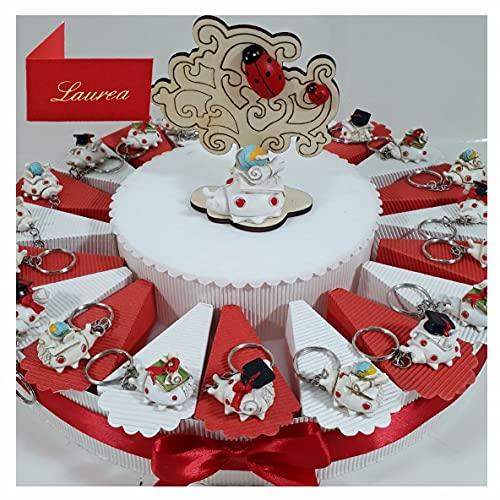 Originale Torta bomboniere per Laurea Festa Coccinella Portachiavi Tocco, Pergamena e Libro (Torta da 20 fette)
