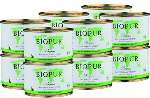 BIOPUR Bio Hundefutter Vegan, Kartoffel & Zucchini für Hunde 12x400g